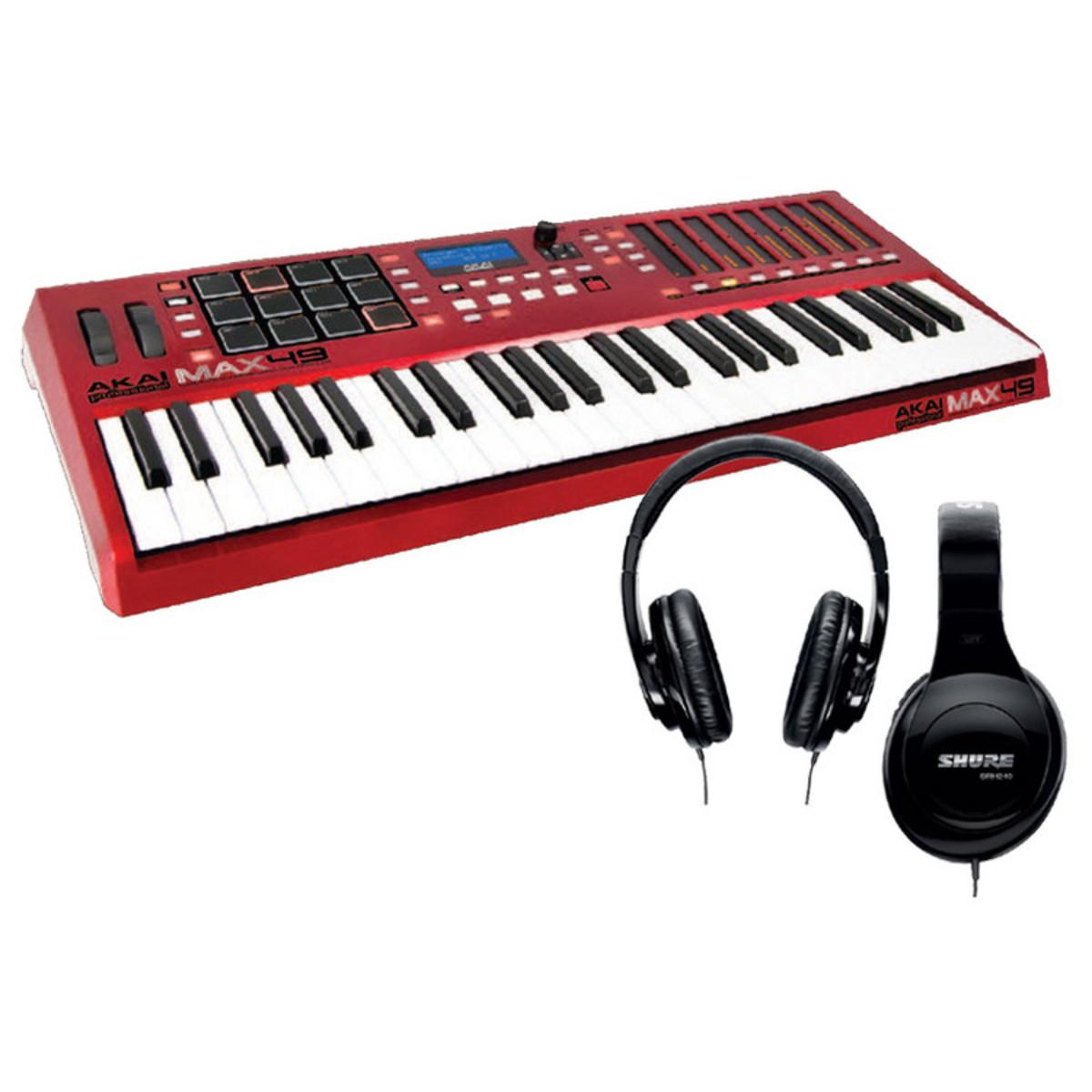 akai max49 usb midi cv contr leur clavier casque shure gear4music. Black Bedroom Furniture Sets. Home Design Ideas