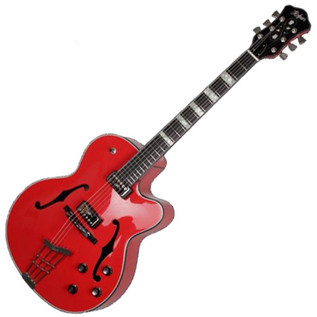 Hofner Gold Label New President Archtop Electric Guitar, Bright Red