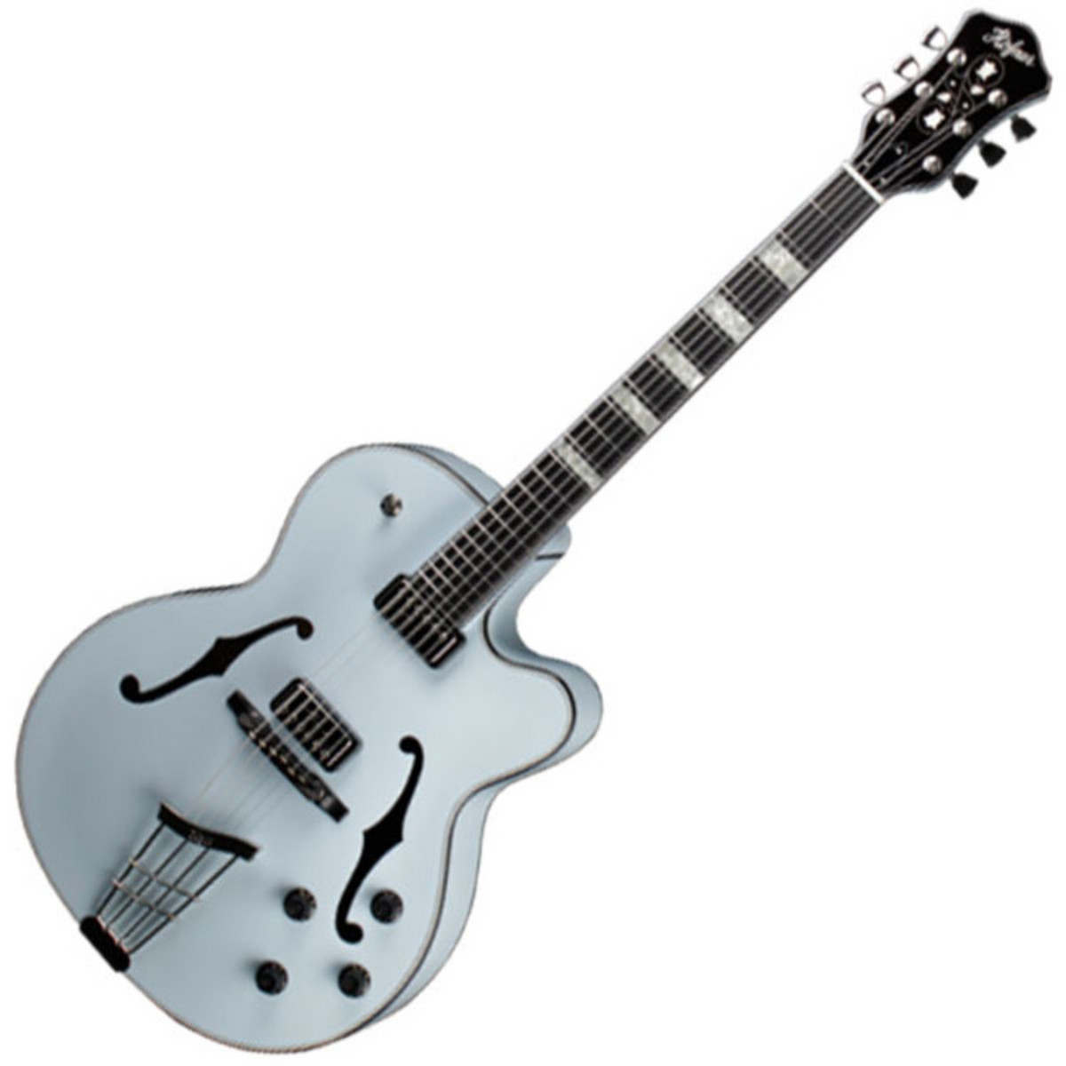 Disc Hofner Gold Label New President Archtop Electric Guitar Blue