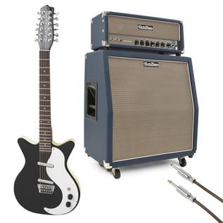 Danelectro DC59 12-String Guitar, Black, w/ SubZero Tube-H50R Stack