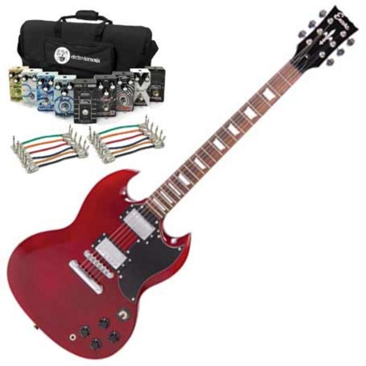 disc encore guitare lectrique rouge cerise avec belcat. Black Bedroom Furniture Sets. Home Design Ideas