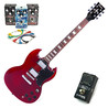 Encore elektrisk gitar, Cherry Red med Belcat 4 Pedal Rock Pack