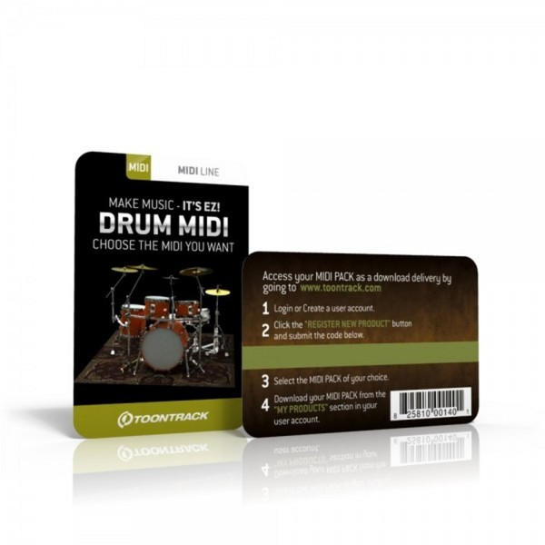 Toontrack Drum MIDI Pack (Serial Number Card)