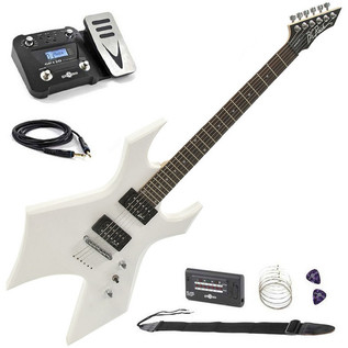 BC Rich Warlock One Guitar, White with Multi FX Pedal Pack - main