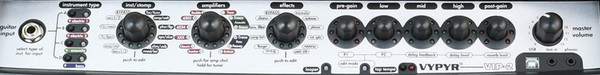 Peavey Vypyr VIP 2 Modelling Combo Amp - controls