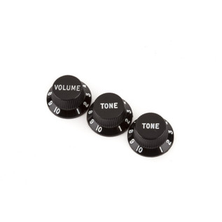 Fender Stratocaster Knobs, 1 Volume, 2 Tone, Black