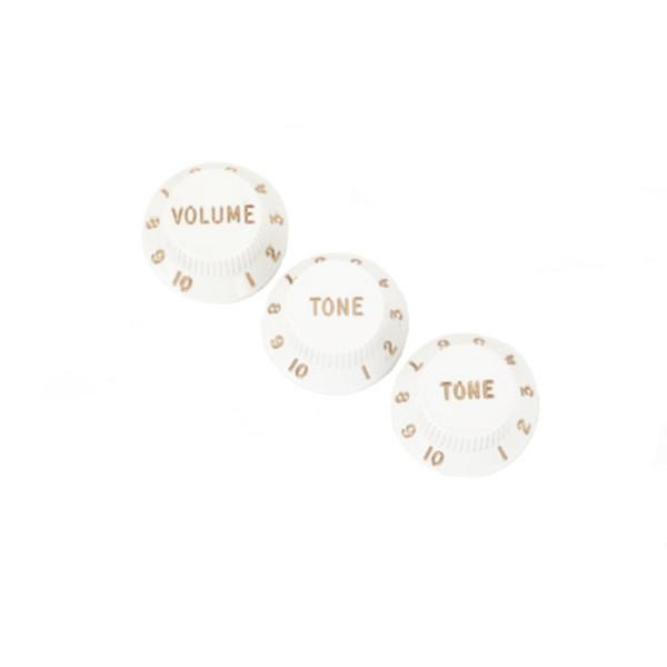 Fender Stratocaster Knobs, 1 Volume, 2 Tone, White