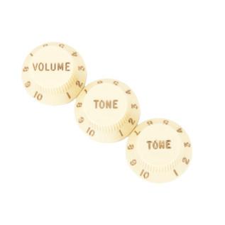 Fender Stratocaster Knobs, 1 Volume, 2 Tone, Aged White