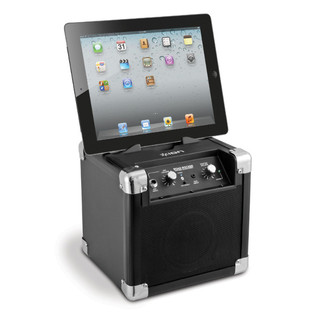 ION Road Rocker Ultra-Compact Bluetooth Speaker for iPad, iPhone with iPad angle