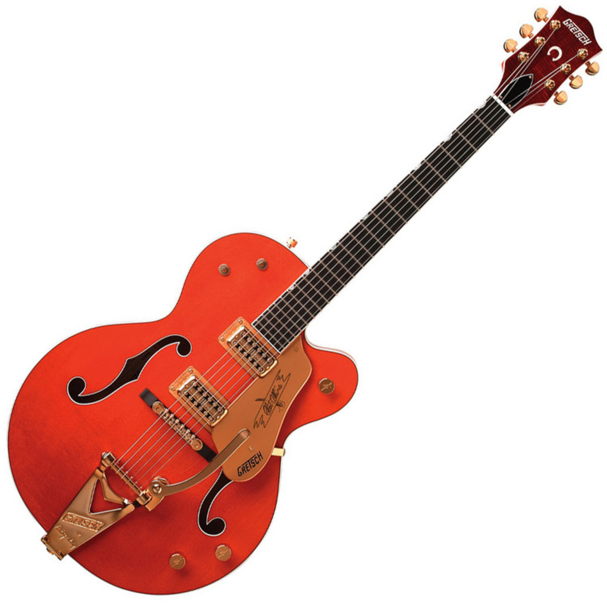 disc gretsch g6120 chet atkins hollow body guitar orange stain at gear4music. Black Bedroom Furniture Sets. Home Design Ideas