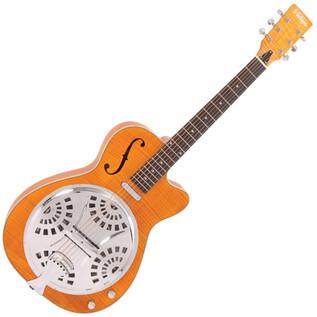 Vintage VRC800AMF Electro-Acoustic Resonator Guitar, Amber