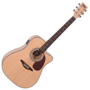 Vintage VEC500 Dreadnought Cutaway Electro Acoustic Guitar, Natural