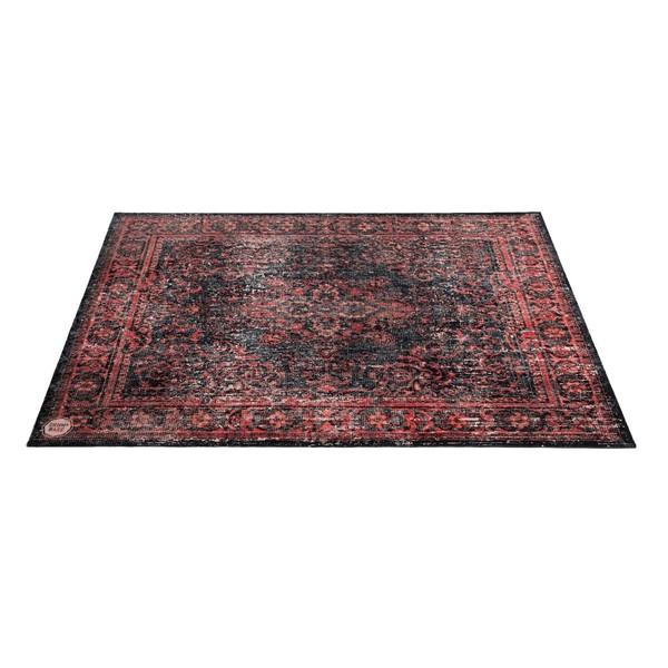 Drum n Base Vintage Persian Stage Rug, Red and Black