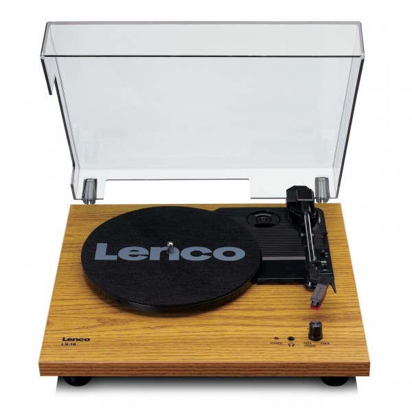 Lenco LS-10 Turntable with Built-In Speakers, Wood - Front Open