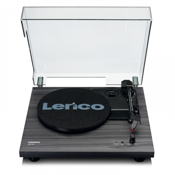 Lenco LS-10 Turntable with Built-In Speakers, Black - Front Open