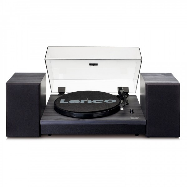 Lenco LS-300 Turntable with Speakers Bundle, Black - Front Open