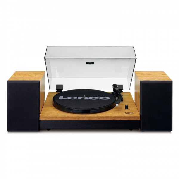 Lenco LS-300 Turntable with Speakers Bundle, Wood - Front Open