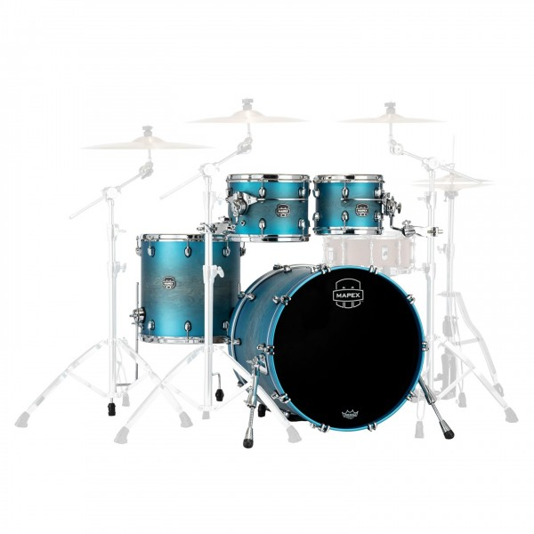 "Mapex Saturn Evolution Maple/Walnut 22"" 4pc Shell Pack, Azure Burst"