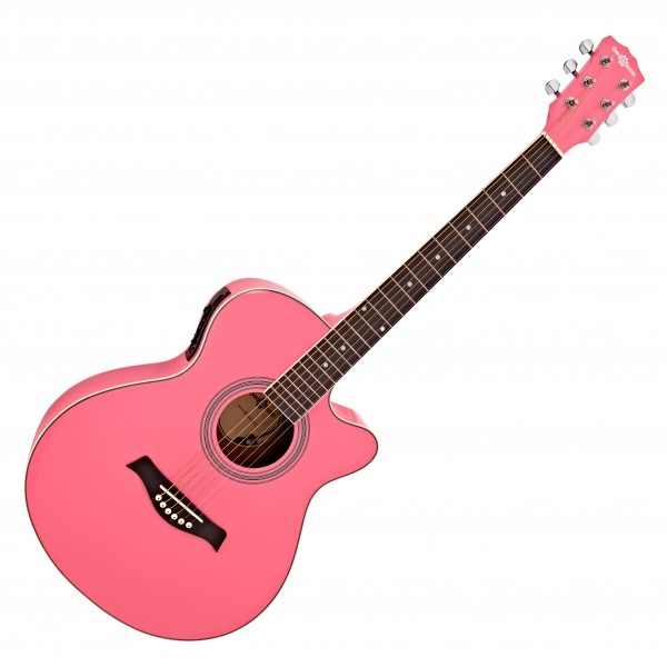 Single Cutaway Electro Acoustic Guitar by Gear4music, Pink