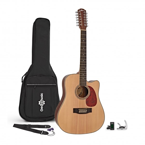 Dreadnought 12 String Acoustic Guitar, Natural + Accessory Pack