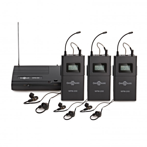 Wireless In Ear Monitor System Pack by Gear4music, 3 Receivers