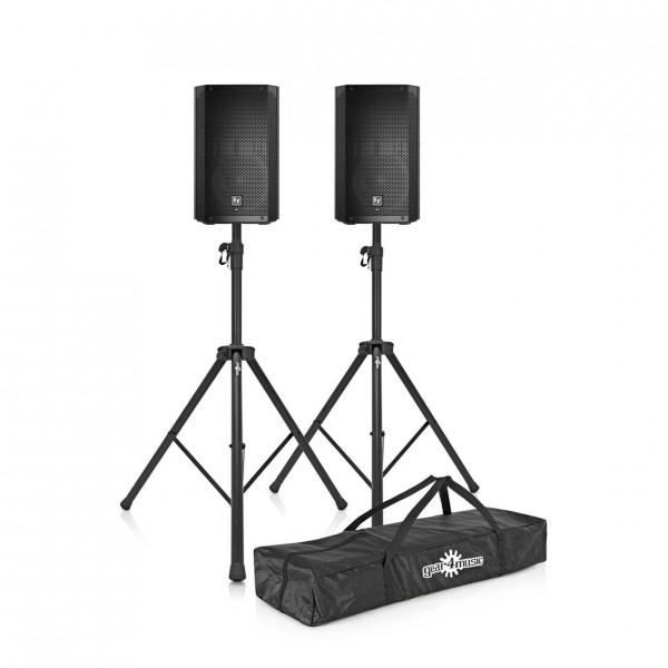 """Electro-Voice ELX200-12P 12"""" Active PA Speakers with Stands- Package"""