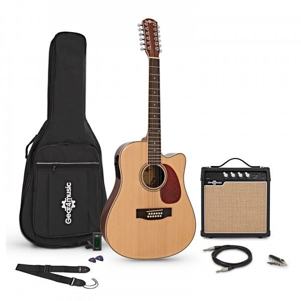 Dreadnought 12 String Electro Acoustic Guitar, Natural + Amp Pack