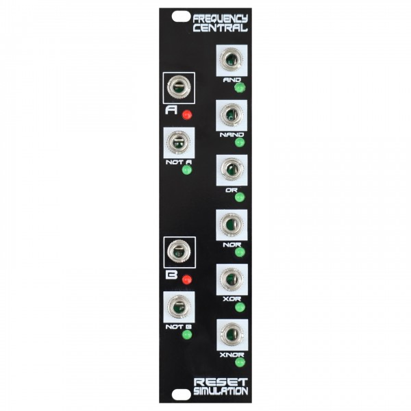 Frequency Central Reset Simulation Boolean logic 2 inputs, 8 Outputs - Top