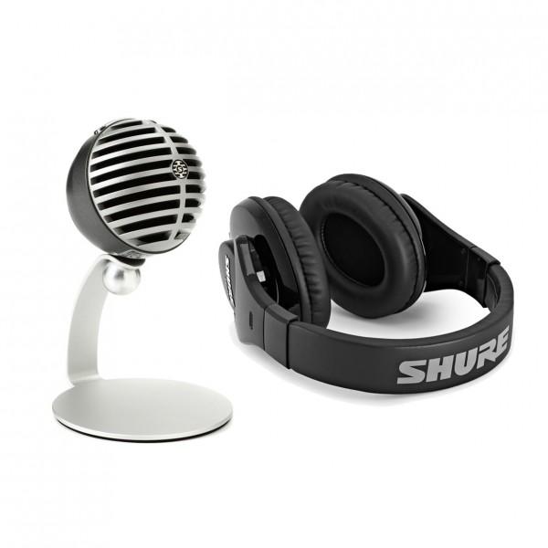 Shure MOTIV MV5 USB Microphone, Silver with SRH240A Headphones