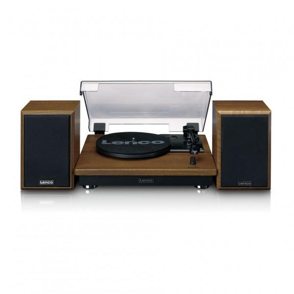 Lenco LS-100 Turntable with Bluetooth and External Speakers, Brown