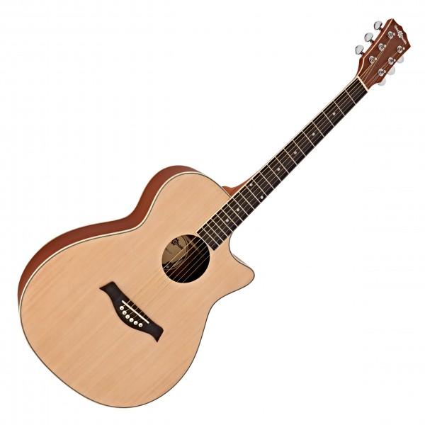 Deluxe Cutaway Folk Guitar by Gear4music, Ovangkol