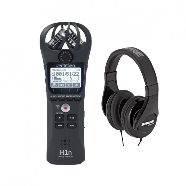 Zoom H1n Recorder, Black with Shure SRH240A