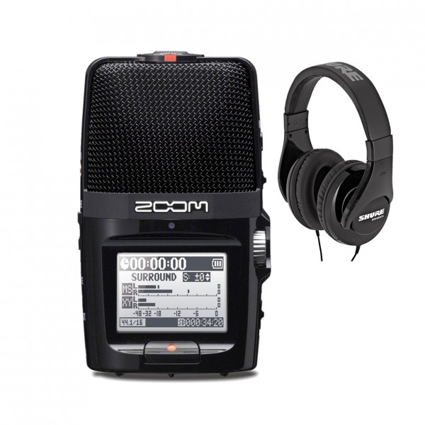 Zoom H2n Recorder, Black with Shure SRH240A Headphones