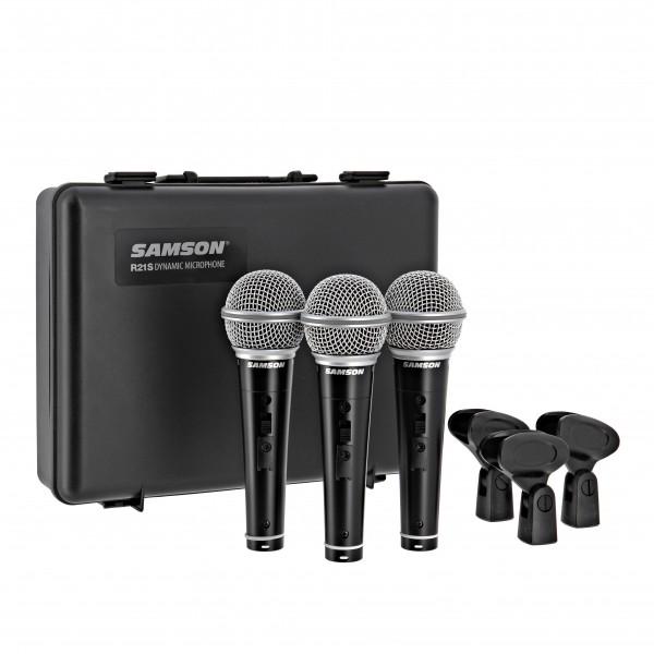 Samson R21 Cardioid Dynamic Microphone 3-Pack W/SW
