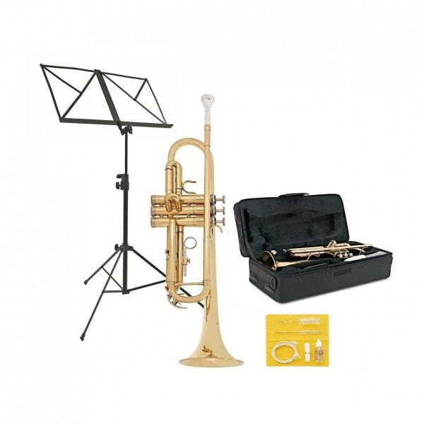 Student Trumpet, Gold by Gear4music + Beginner Pack