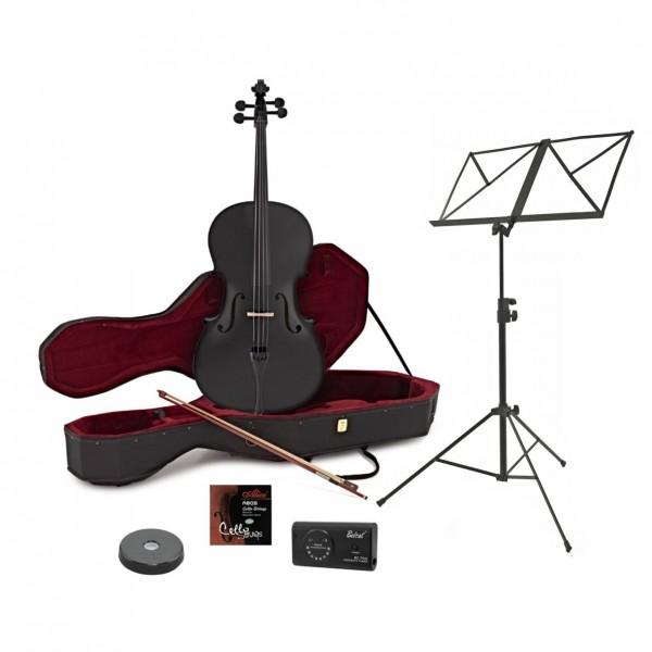 Full Size Cello with Case + Beginner Pack, Black