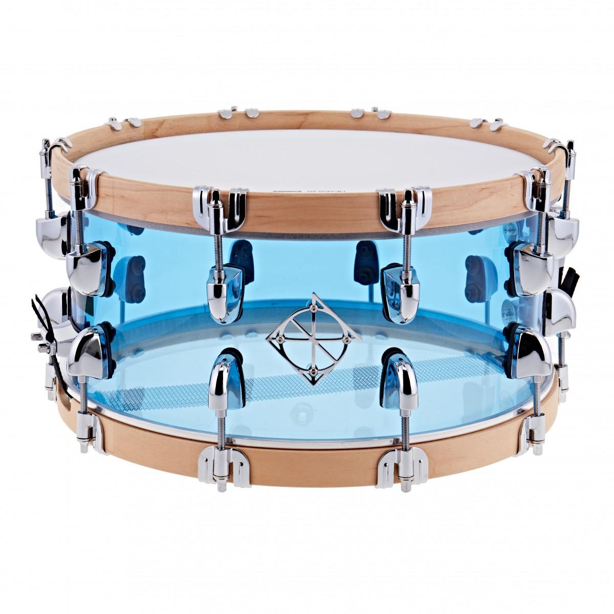 Dixon Drums 14 x 6.5 Cornerstone Blue Acrylic w/Maple Hoops