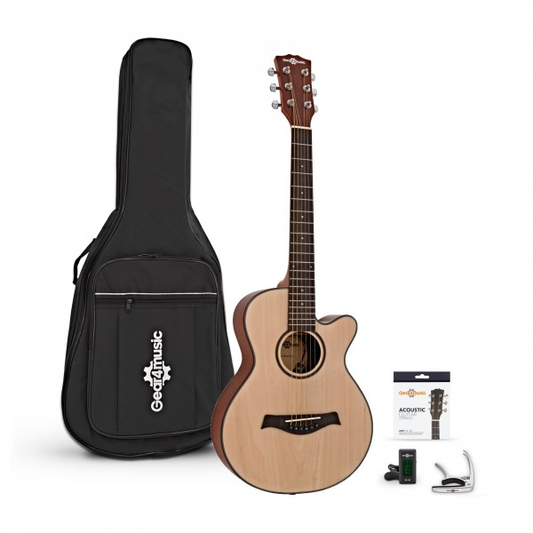 3/4 Single Cutaway Acoustic Guitar Pack by Gear4music