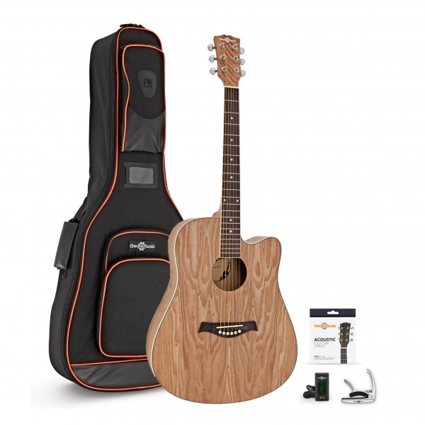 Deluxe Cutaway Dreadnought Acoustic Guitar Pack, Willow