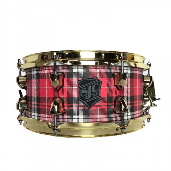 "SJC Plaid 14"" x 6"" Maple Snare Drum, Red Plaid w/ Brass Hardware"