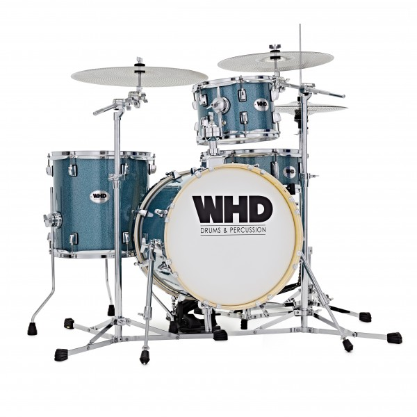 WHD Genesis Compact Drum Kit, Blue Sparkle Quiet Pack