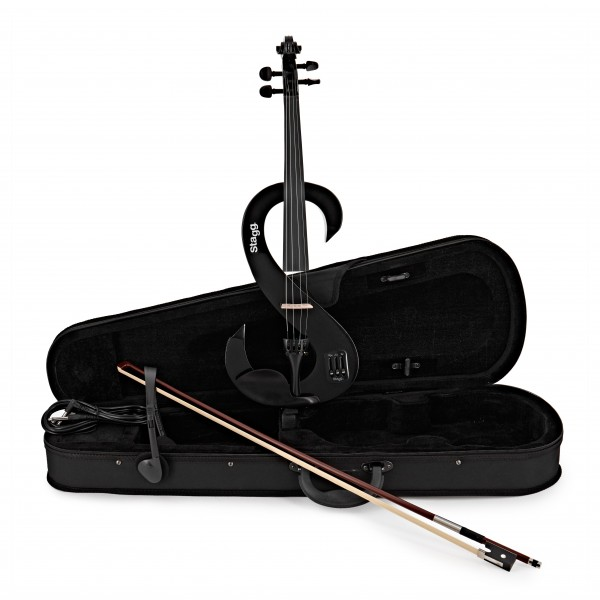 Stagg S-Shaped Electric Violin Outfit, Black