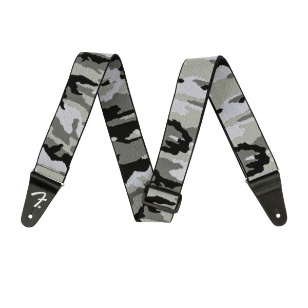 """Fender 2"""" WeighLess Guitar Strap, Gray Camo - Front View"""