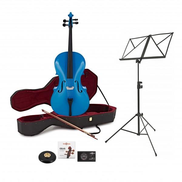 Student 1/4 Size Cello + Beginner Pack, Blue