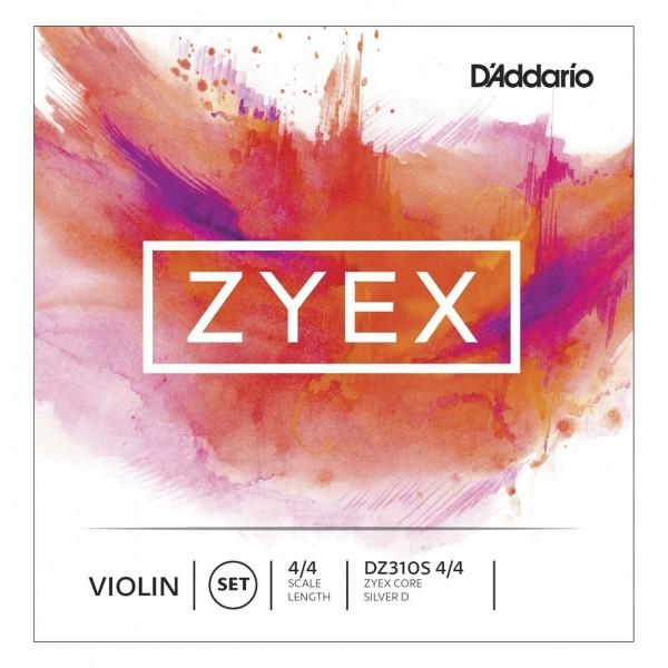 D'Addario Zyex Violin Set, Silver Wound D, 4/4 Size, Medium
