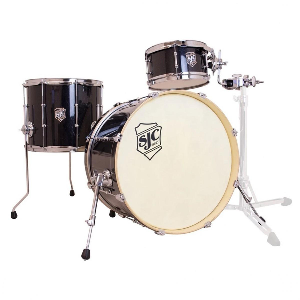 SJC Drums Busker DeVille 20'' 3pc, Black Sparkle Wrap