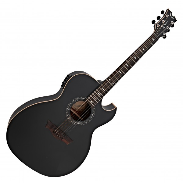 Dean Exhibition Thin Body Electro Acoustic Guitar, Black Satin