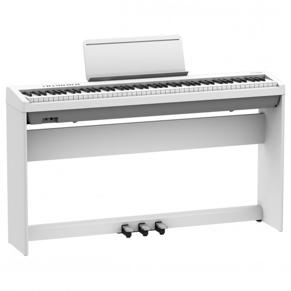 Roland FP-30X Digital Piano with Wood Frame Stand and Pedals, White