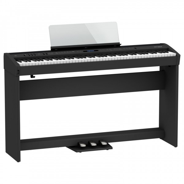 Roland FP-60X Digital Piano with Wood Frame Stand and Pedals, Black