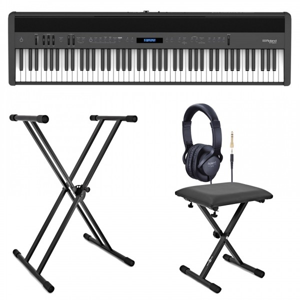 Roland FP-60X Digital Piano with Stand, Stool and Headphones, Black